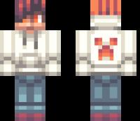 White Creeper Hoodie Minecraft Skin