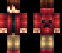 Red Creeper Hoodie Minecraft Skin