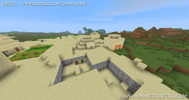 Minecraft Desert Village Seed: -7492801512473941435