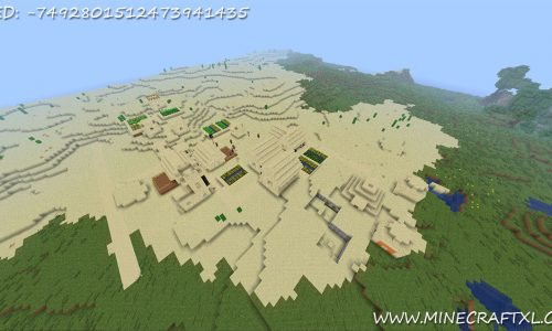 Minecraft Desert Village and Pyramid Seed: -7492801512473941435