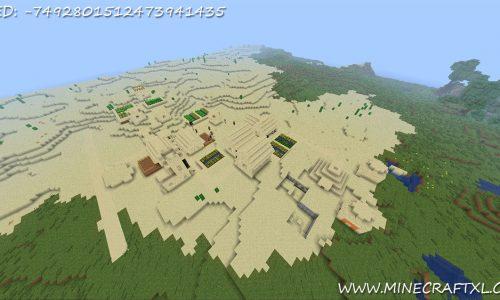 Minecraft Desert Village and Pyramid Seed: -7492801512473941435