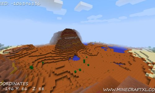 Mesa biome, NPC Village and Jungle Temple Seed for Minecraft: -106396336