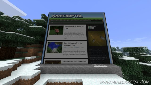 Internet web display mod for Minecraft