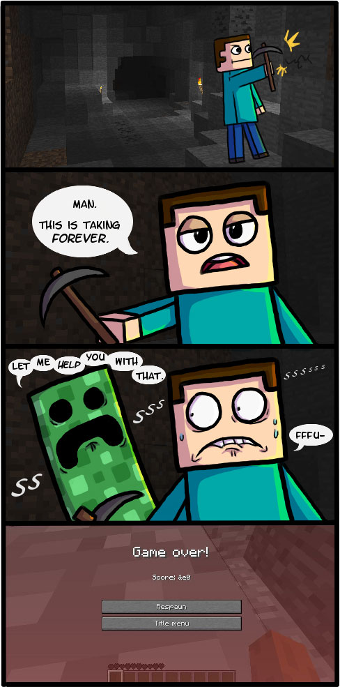 Minecraft Comic - Creeper Cave