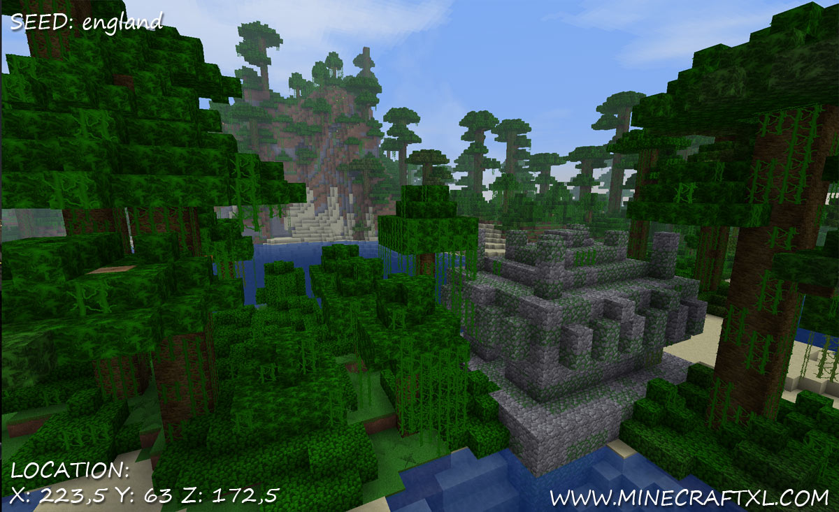 Minecraft Jungle Temple Seed: england  w/ Diamonds near spawn
