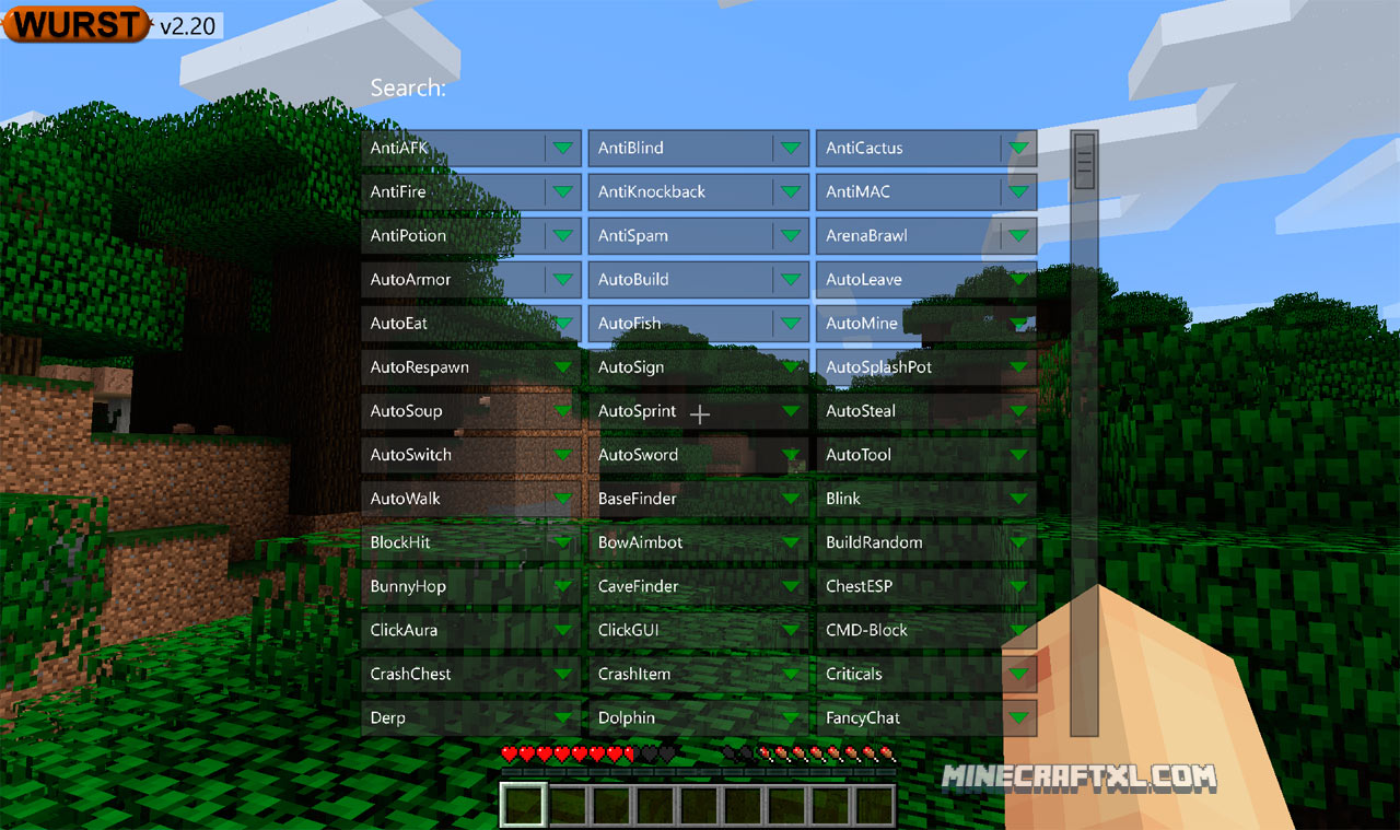 Download Wurst Minecraft Hack for 1.8.X - 1.8.9